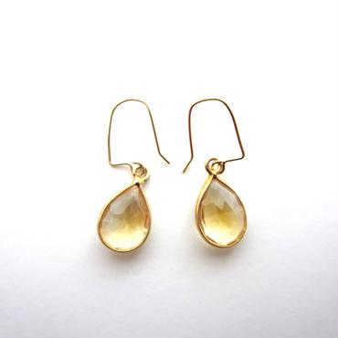 【UE045】 Citrine Gold Pear Shape Earring 18KGP(シトリンゴールドペアシェイプピアス)