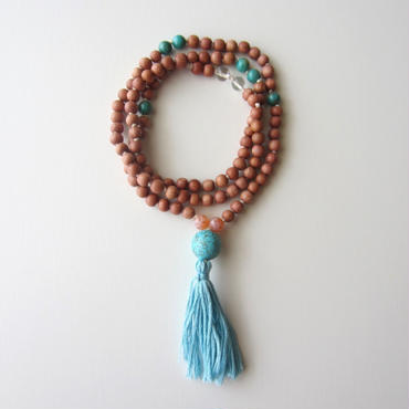 【UN0050】108 Rosewood Mala(Turquoise /Fire Agate / Crystal) (ターコイズ、ファイアーアゲート、クリスタル、ローズウッド マーラー)