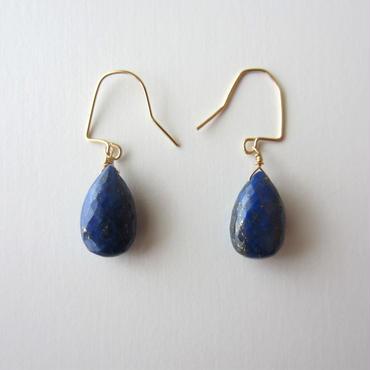 【UE075】Briolette Lapis-lazuli Earring 14KGF(ブリオレットラピスラズリピアス)