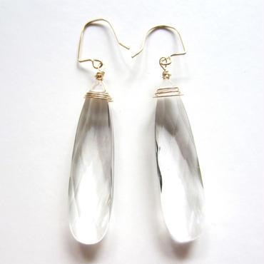 【UE049】Crystal Quartz Pear Shape Earring 14KGF(クリスタルクオーツ ペアシェイプ ピアス)
