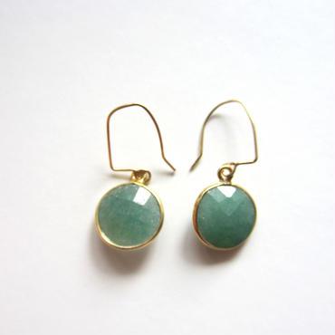 【UE059】 Emerald Gold Round Earring 18KGP(エメラルド ラウンド ピアス)