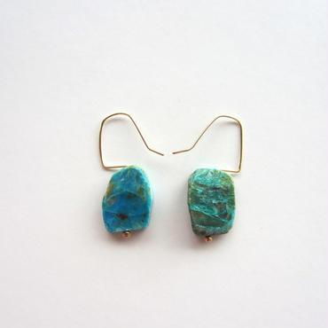 【UE038】 Flat Blue Opal Earring 14KGF(フラットブルーオパール ピアス)