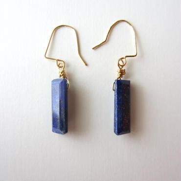 【UE082】 Lapis-lazuli Square Earring 14KGF(ラピスラズリスクエアピアス)