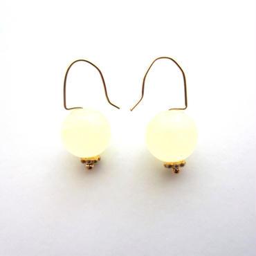 【UE063】 Yellow Jade Earring 14KGF(イエロージェイドピアス)