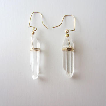 【UE085】Crystal Rock Small Earring 14KGF(クリスタルロックスモールピアス)