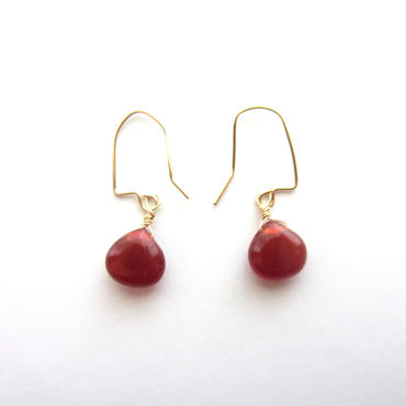 【UE069】 Red Agate Marron Earring 14KGF(レッド・アゲートマロンピアス)