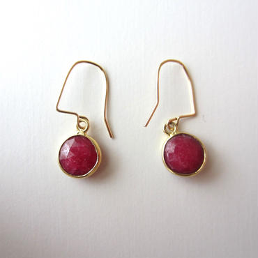 【UE079】 Ruby Gold Round Earring 14KGF(ルビーゴールドラウンドピアス)