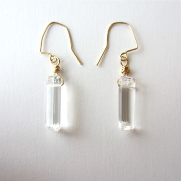 【UE081】 Crystal Square Earring 14KGF(クリスタルスクエアピアス)