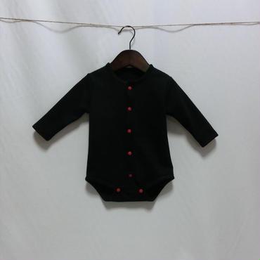 オーガニックコットン ベーシックロンパース 黒  ボタン4色