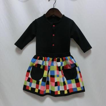 しっぽ付きギャザースカート カラフルキューブ柄