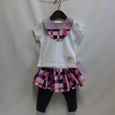 レギンス付きスカート  カラフルキューブ柄ピンクパープル