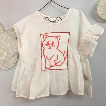 UNIONINI  cat  blouse  White
