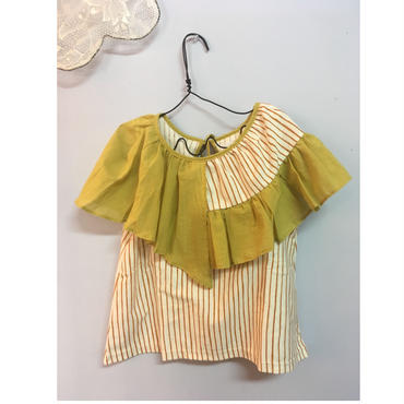 folk made  flare stripe blouse イエロー