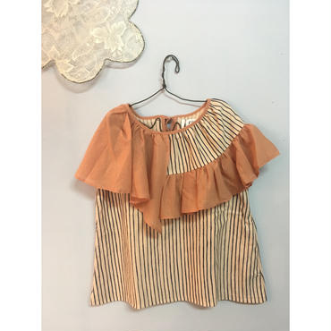 folk made  flare stripe blouse  ピーチネイビー×ピンク