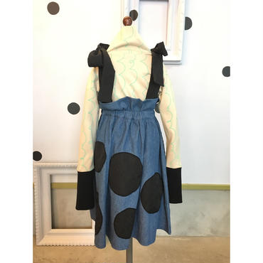frankygrow BEAR MT STRAP UNEVEN DOTS DENIM SKIRT