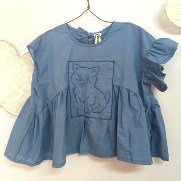 UNIONINI  cat  blouse  Blue