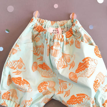 folk  made  ☆ fish print  short  pants  Lsize