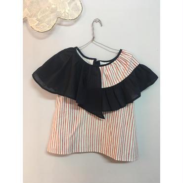 folk made  flare stripe blouse  サックスレッド×ネイビー