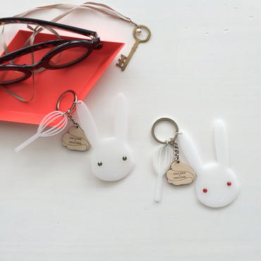 meringue bunny key chain red eyes