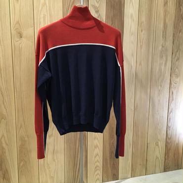 ストライプハイネックセーター