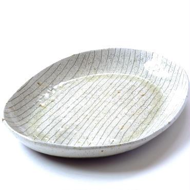 ガラス釉楕円皿 大