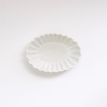 青白土楕円輪花マメ鉢