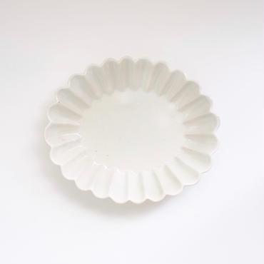 青白土楕円輪花皿 小