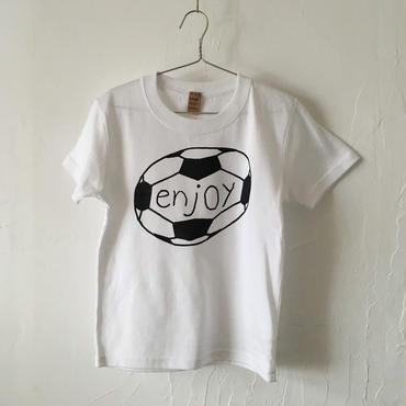 ▲送料無料 120サイズ/半そで uyoga enjoy soccer Tシャツ 5.6oz ホワイト