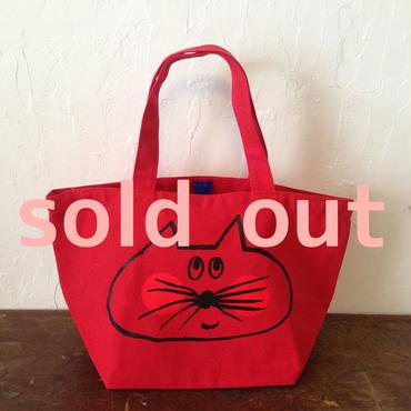 ▲送料無料 Sサイズ/キャンバス生地 ねこもぐらさん トートバッグ uyoga cat mole フレンチレッド ほっぺあり 663番目のねこもぐらさん