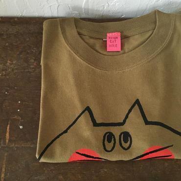 ▲送料無料 130サイズ/半そで ねこもぐらさんTシャツC 6.2oz uyoga cat mole モス ほっぺあり 1030番目のねこもぐらさん