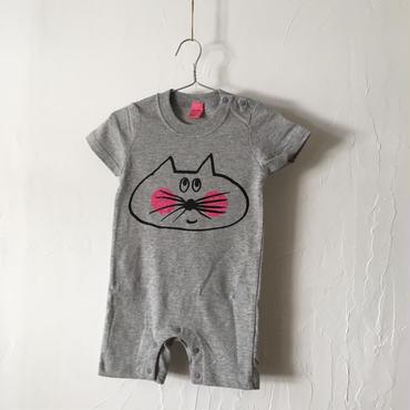 ▲送料無料 80サイズ/半そで ねこもぐらさん ロンパースB 5.6oz uyoga cat mole  杢グレー 1077番目のねこもぐらさん
