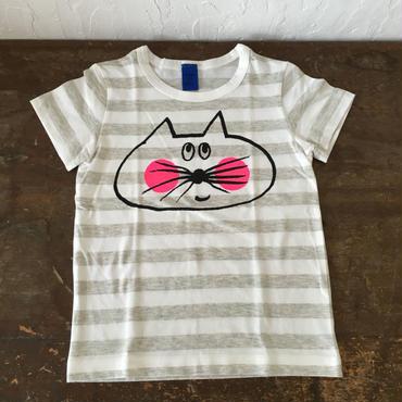 ▲送料無料 100サイズ/半そで ねこもぐらさんしましまTシャツE オーガニックコットン uyoga cat mole ライトグレー×ホワイト ボーダー ほっぺあり 1019番目のねこもぐらさん
