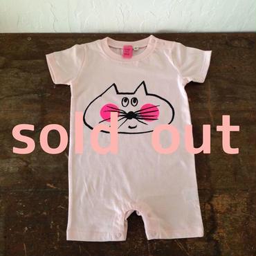 ▲送料無料 80サイズ/半そで ねこもぐらさん ロンパース 5.0oz uyoga cat mole ベビーピンク 527番目のねこもぐらさん