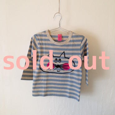 ▲送料無料 90サイズ/長そで ねこもぐらさんしましまTシャツE オーガニックコットン uyoga cat mole ライトブルーしましま (ボーダー) ほっぺあり 894番目のねこもぐらさん