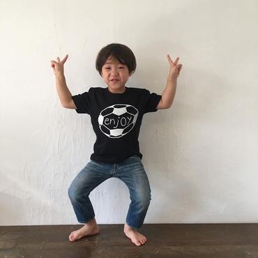 ▲送料無料 110サイズ/半そで uyoga enjoy soccer Tシャツ 5.6oz ブラック