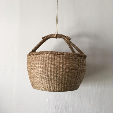 ベトナムのまるっこい手づくりかご handmade シーグラス ラウンド バスケットA Lサイズ AL-10