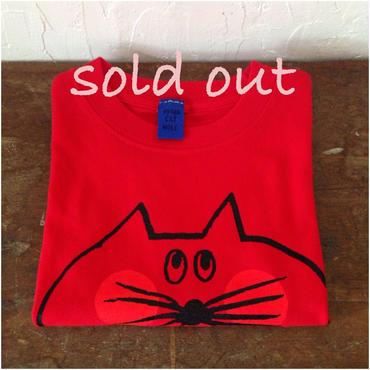 ▲送料無料 100サイズ/半そで ねこもぐらさんTシャツ uyoga cat mole レッド