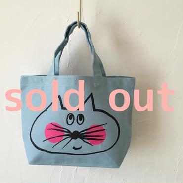 ▲送料無料 Sサイズ/キャンバス生地 ねこもぐらさん トートバッグD uyoga cat mole ライトブルー ほっぺあり 980番目のねこもぐらさん