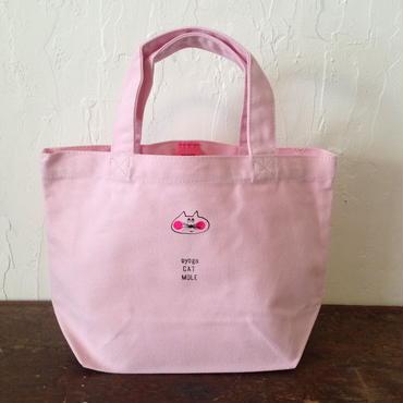 ▲送料無料 Sサイズ/キャンバス生地 ねこもぐらさん トートバッグD uyoga cat mole ピンク ほっぺあり ミニねこもぐら 654番目のねこもぐらさん