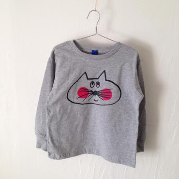 ▲送料無料 110サイズ/長そで ねこもぐらさんTシャツR 5.5oz uyoga cat mole ダークヘザー ほっぺあり 911番目のねこもぐらさん