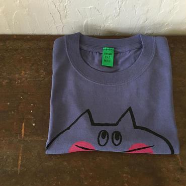 ▲送料無料 130サイズ/半そで ねこもぐらさんTシャツC 6.2oz uyoga cat mole グレープ ほっぺあり 1040番目のねこもぐらさん