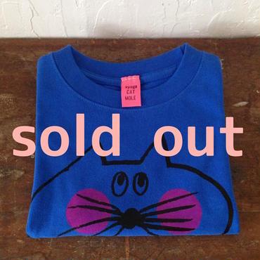 ▲送料無料 100サイズ/半そで ねこもぐらさんTシャツ 6.2oz uyoga cat mole ロイヤルブルー ほっぺあり