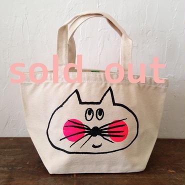 ▲送料無料 Sサイズ/キャンバス生地 ねこもぐらさん トートバッグ uyoga cat mole ナチュラル ほっぺあり 572番目のねこもぐらさん