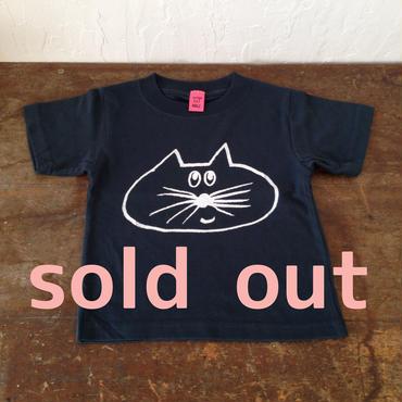 ▲送料無料 100サイズ/半そで ねこもぐらさんTシャツ 5.6oz uyoga cat mole ストレート ほっぺなし 614番目のねこもぐらさん