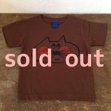 ▲送料無料 100サイズ/半そで ねこもぐらさんTシャツ 6.2oz uyoga cat mole ダークブラウン ほっぺあり 587番目のねこもぐらさん