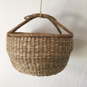 ベトナムのまるっこい手づくりかご handmade シーグラス ラウンド バスケットA Mサイズ AM-14