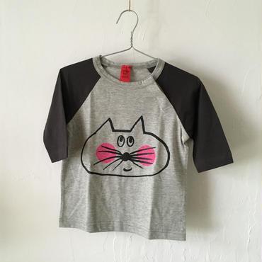 ▲送料無料 90サイズ/ラグラン七分そで ねこもぐらさんTシャツE オーガニックコットン uyoga cat mole  チャコールグレー×グレー ほっぺあり 1096番目のねこもぐらさん
