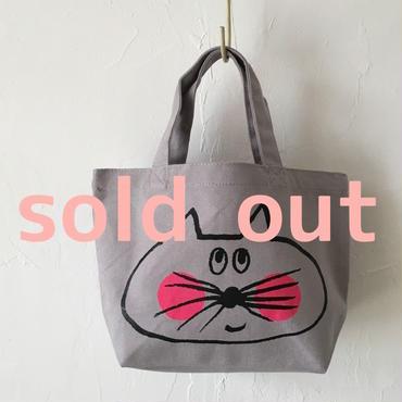 ▲送料無料 Sサイズ/キャンバス生地 ねこもぐらさん トートバッグD uyoga cat mole グレー ほっぺあり 981番目のねこもぐらさん
