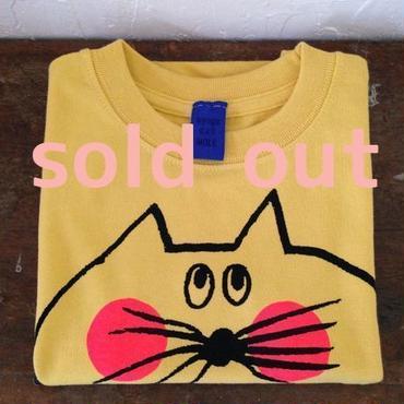 ▲送料無料 100サイズ/半そで ねこもぐらさんTシャツ 6.2oz uyoga cat mole バナナ ほっぺあり 514番目のねこもぐらさん