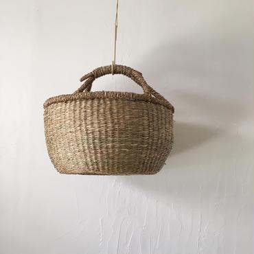 ベトナムのまるっこい手づくりかご handmade シーグラス ラウンド バスケットA Mサイズ AM-3